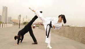 Karate Girl Kicking Sister Black White